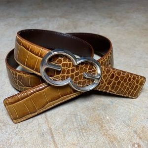 Escada Monogram Belt Croc Embossed Brown Silver 38